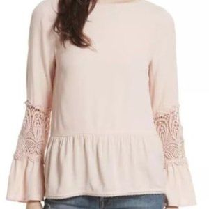 Joie Peplum Lace Bell Sleeves Flowy louse Top NEW